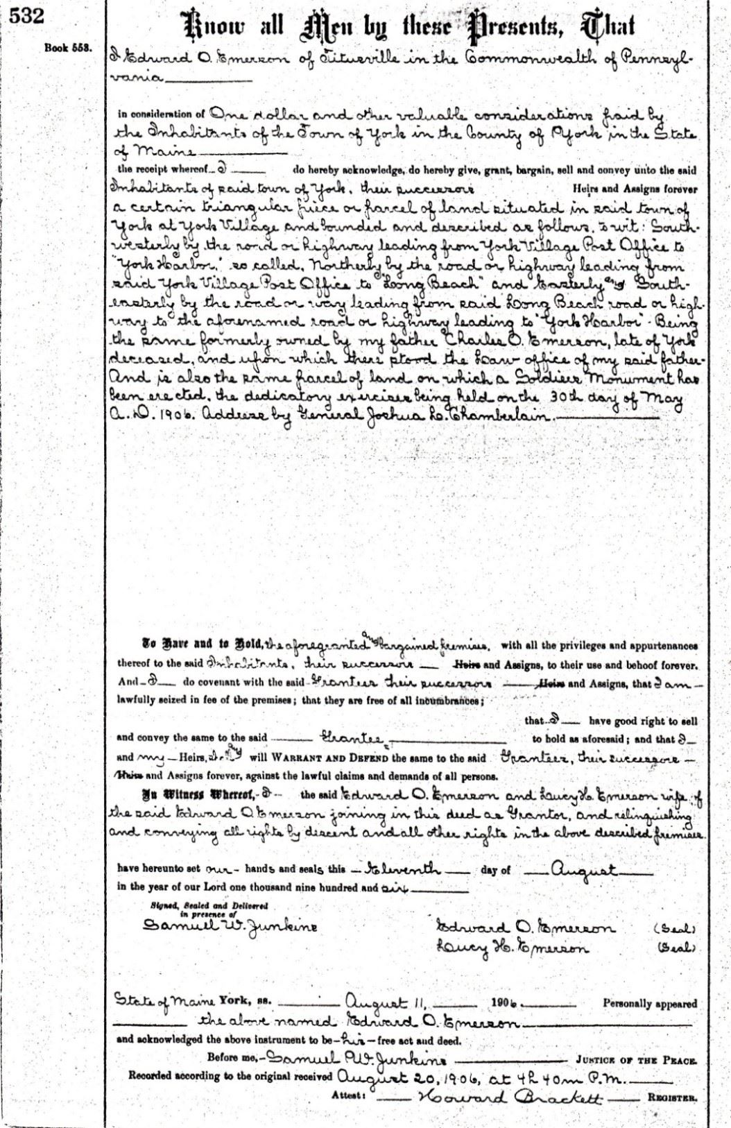 Soldiers' Memorial Property Deed