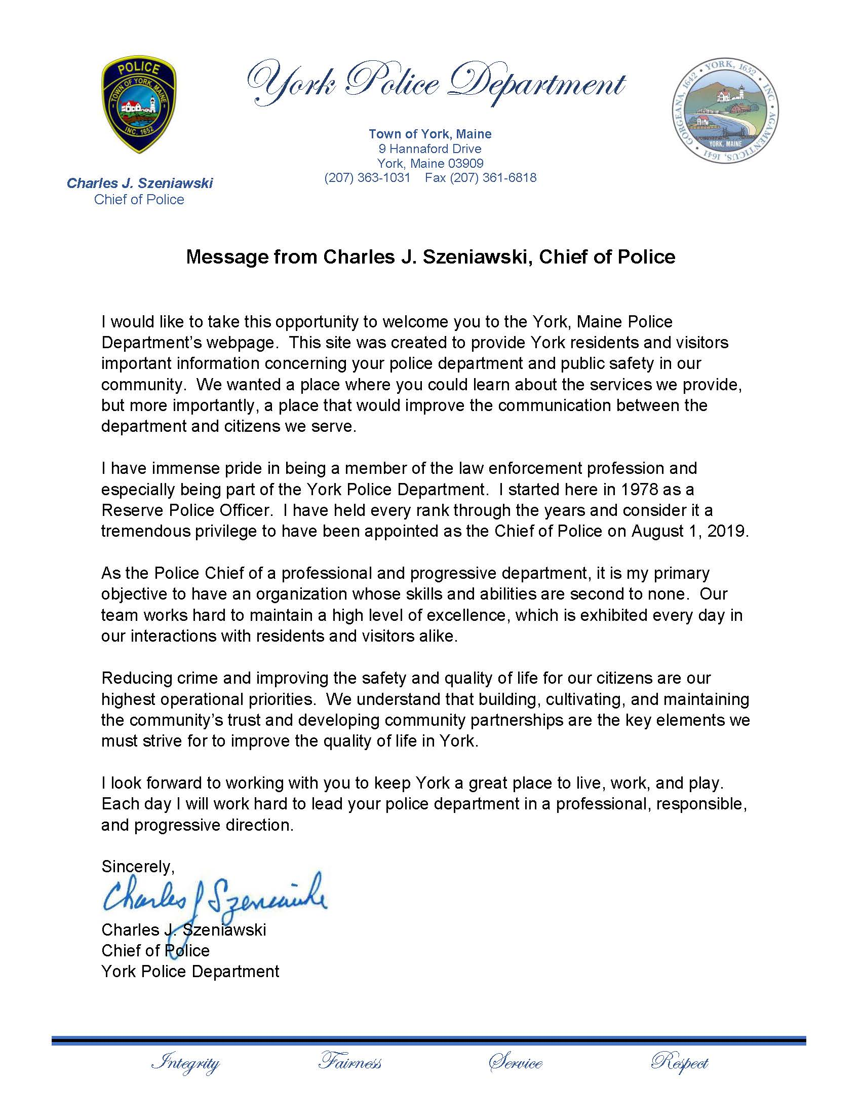 Message from the Chief for webpage