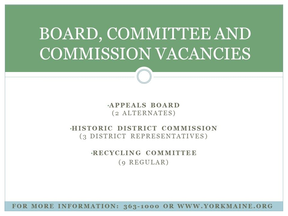 Board and Commission vacancies