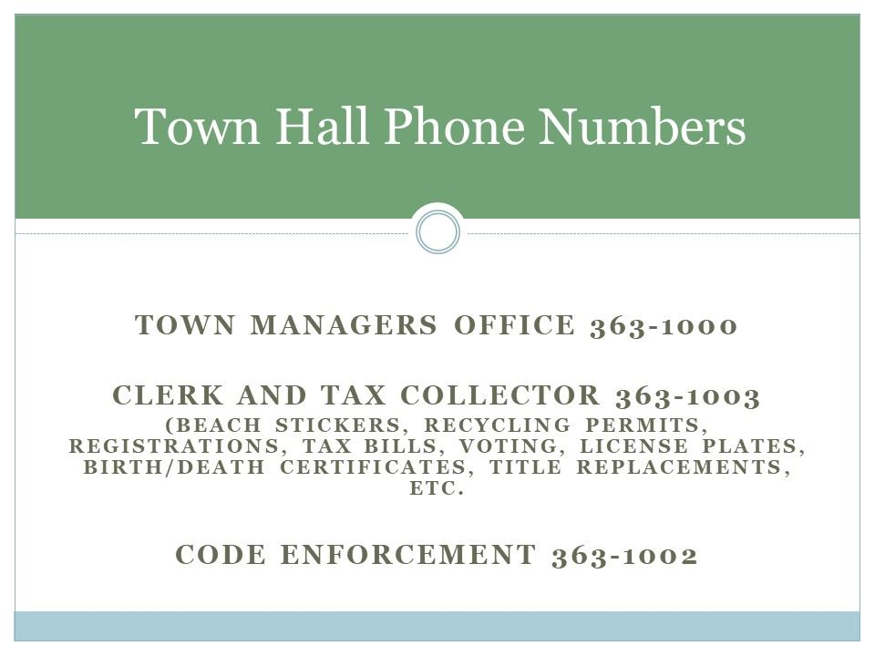 Town hall phone numbers